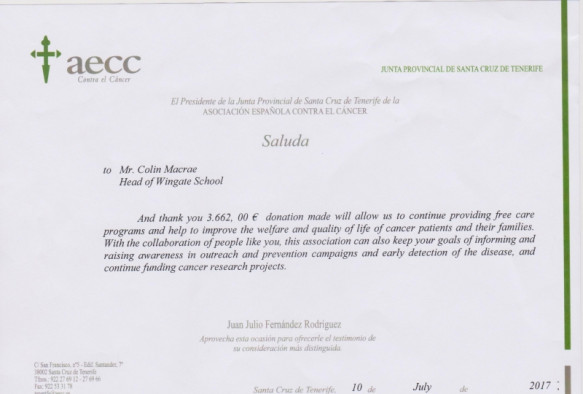Thank you letter from AECC
